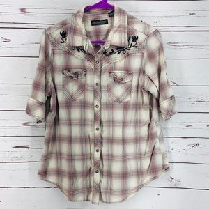 North River Pink Plaid Embroidered Button Down